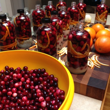 Making the Cranberry Orange Vodka!